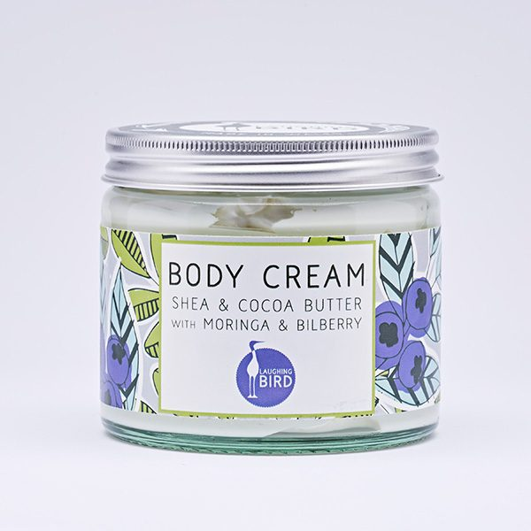 Shea butter and cocoa butter body cream with moringa and bilberry by Laughing Bird