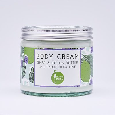 Shea butter and cocoa butter body cream with patchouli and lime by Laughing Bird