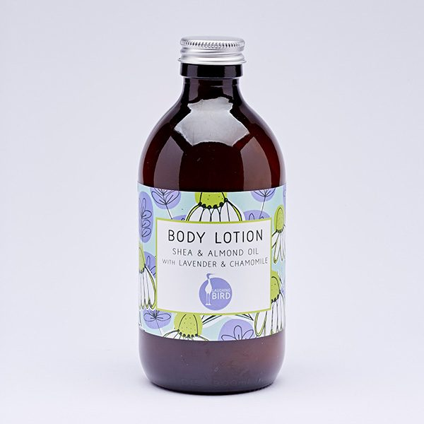 Body lotion with shea, almond oil, lavender and chamomile by Laughing Bird