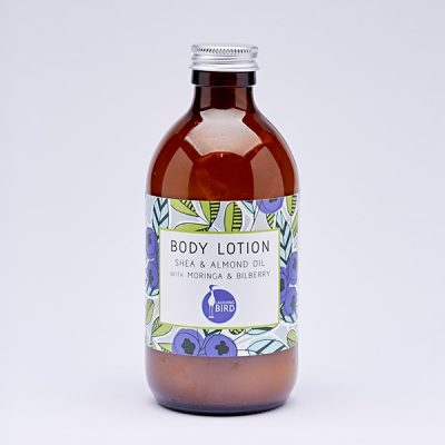 Body lotion with shea, almond oil, moringa and bilberry by Laughing Bird