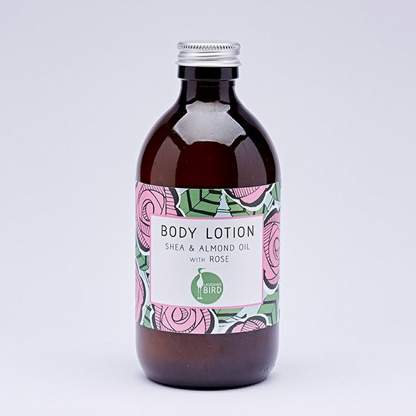 Body lotion with shea, almond oil and rose by Laughing Bird
