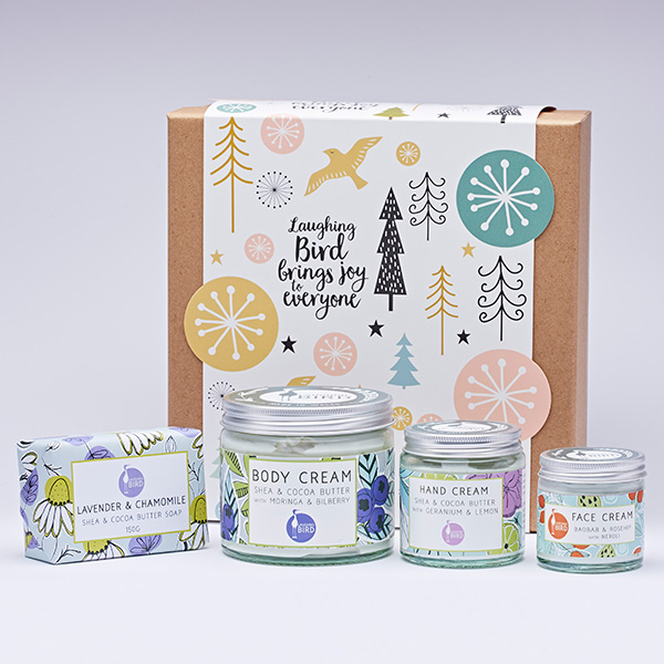 Laughing Bird Christmas box with products