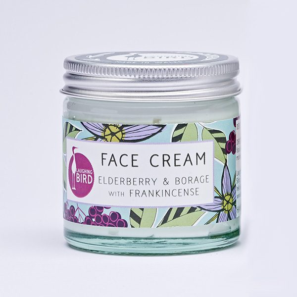 Face cream with elderberry, borage and frankincense by Laughing Bird