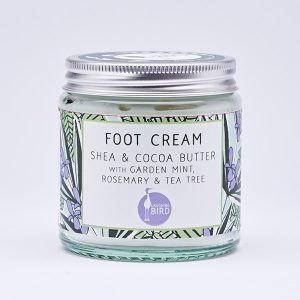 Foot cream with Shea butter, cocoa butter, mint, rosemary and tea tree by Laughing Bird