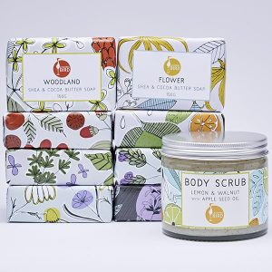 Shea butter soaps and body scrubs by Laughing Bird
