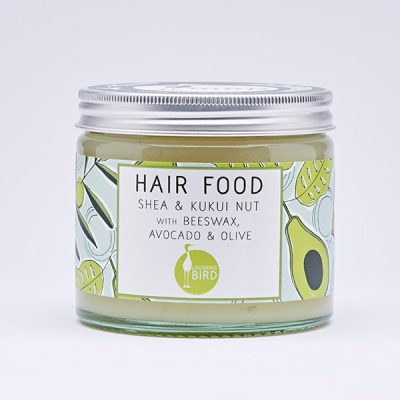 Hair food with shea, kukui nut, beewax, avocado and lime by Laughing Bird